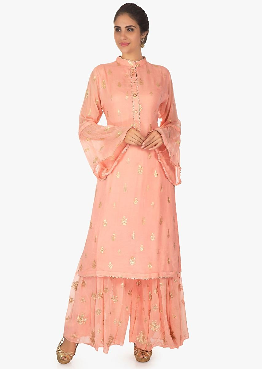 b119b90641 Peach cotton silk weaved top paired with a georgette weaved palazzo only on  KalkiMore Detail