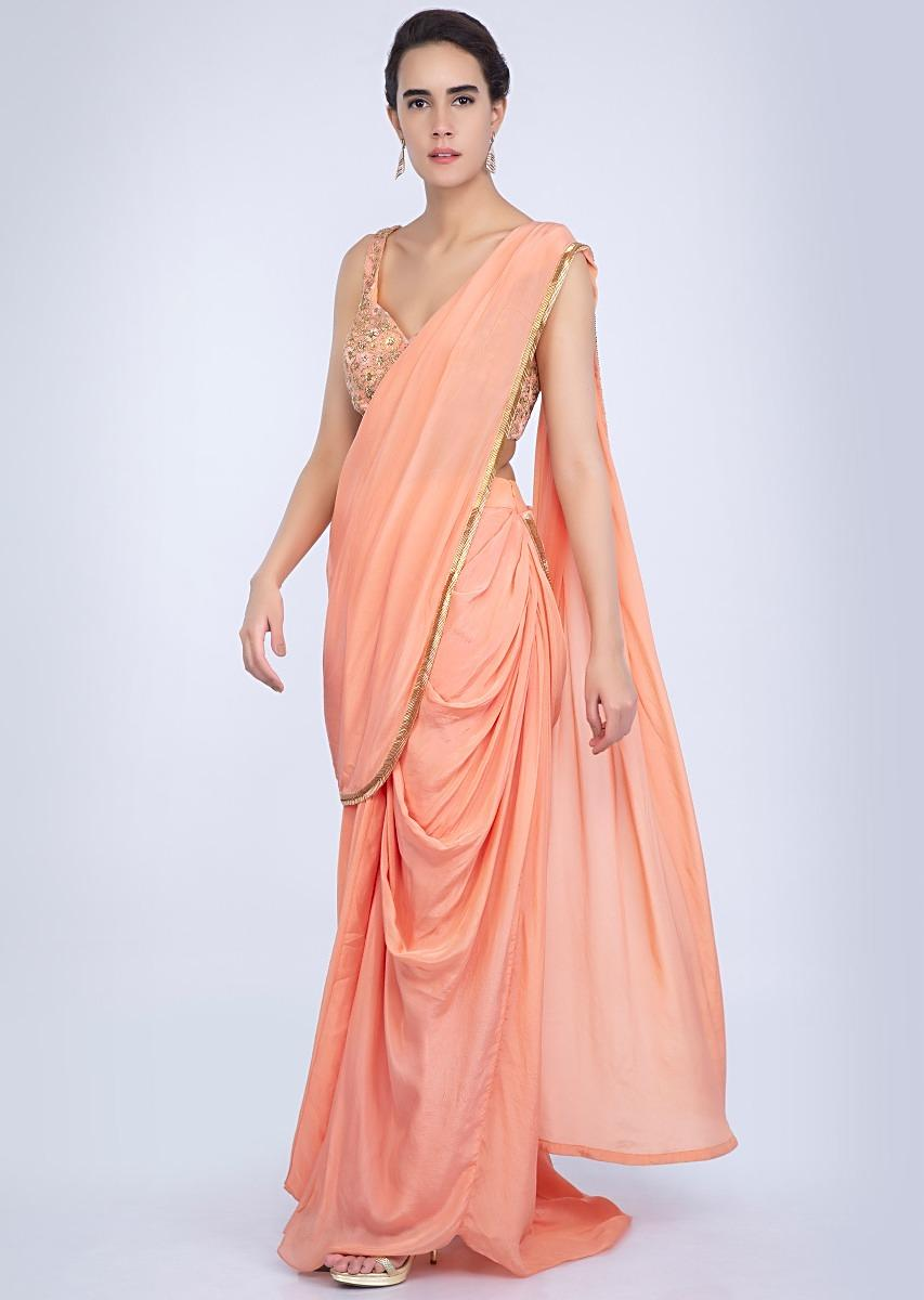 942492ae7 Peach crepe satin ready plated dhoti saree only on Kalki
