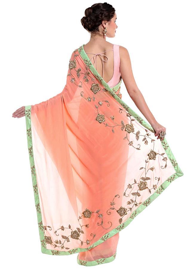 Peach Saree In Crepe Silk Crafted With Zardosi Work Online - Kalki Fashion