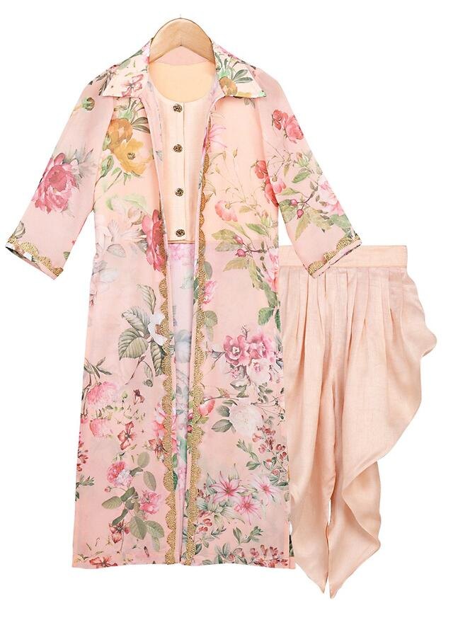 Peach Crop Top And Dhoti Set Topped With A Long Floral Printed Jacket Online - Free Sparrow