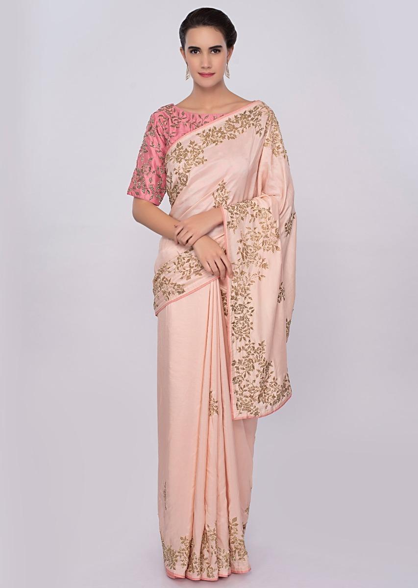 f9faad3e68835 Peach cut dana embroidered saree with contrasting punch pink blouse only on  Kalki