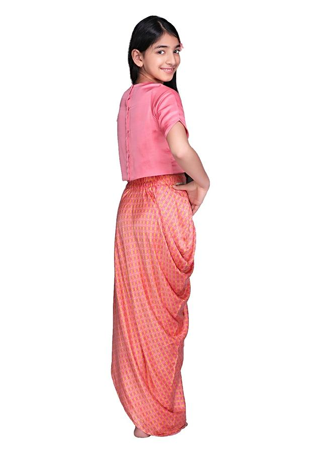 Peach Draped Skirt With All Over Print And Rose Pink Crop Top Online - Free Sparrow