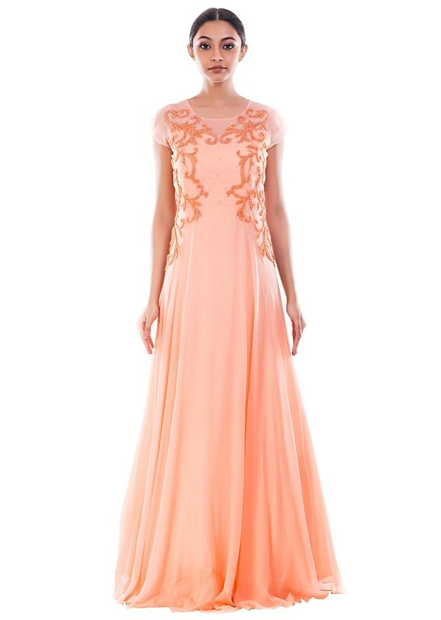 Peach Long Gown With Embellishment Online - Kalki Fashion