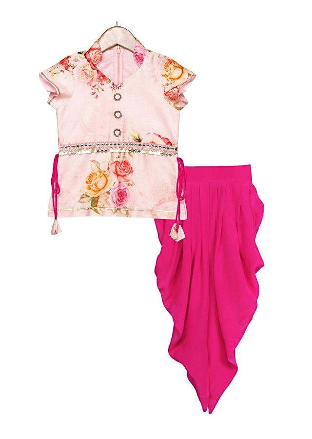 Peach floral printed kurti with magenta dhoti and dupatta Online - Free Sparrow