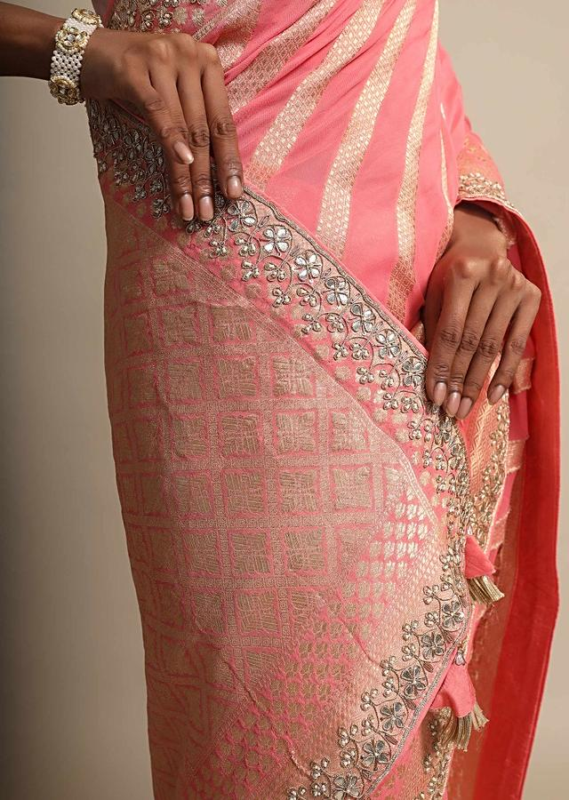 Peach Georgette Saree With Weaved Stripes All Over Online - Kalki Fashion