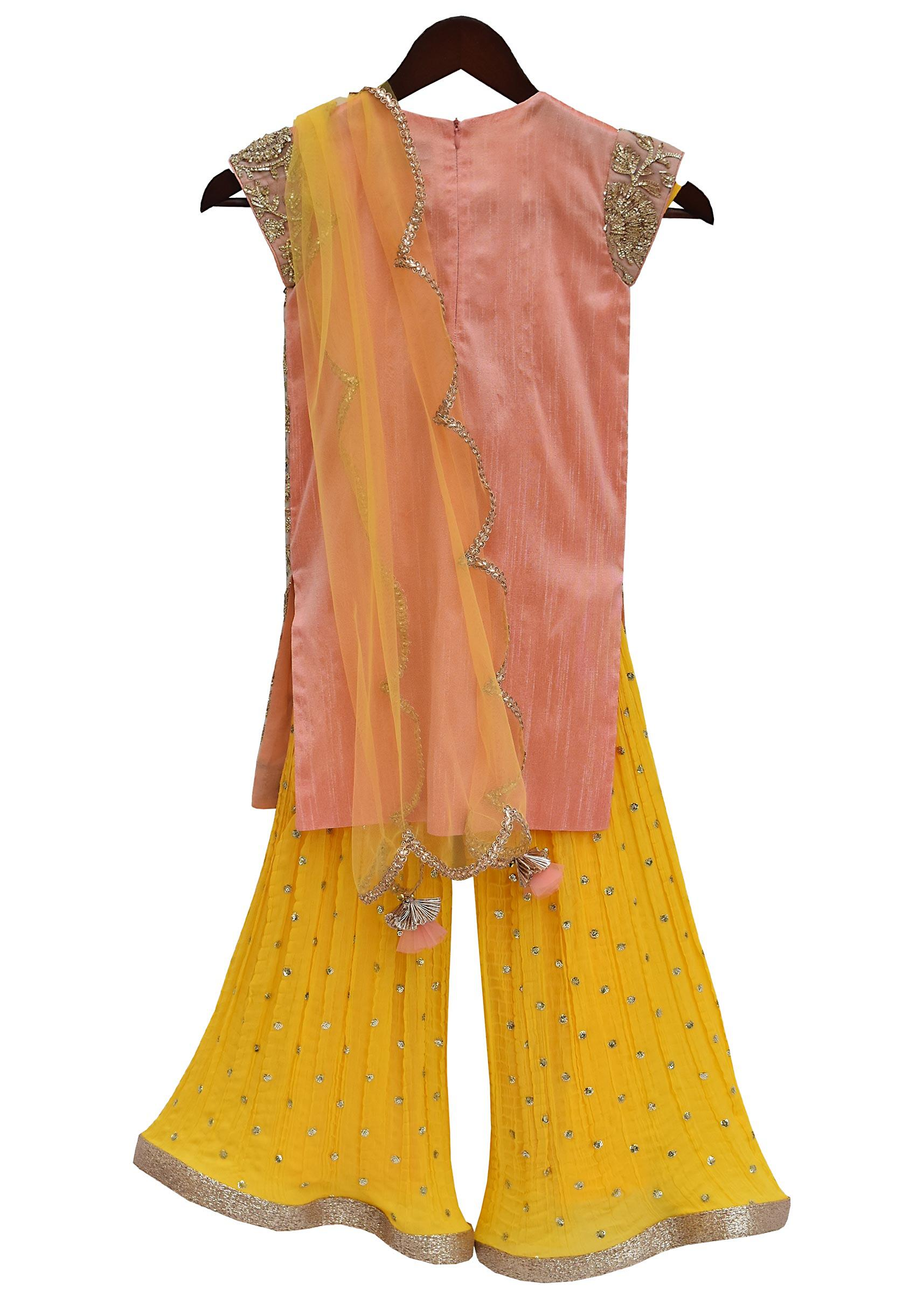 694d84eead Peach Gota Embroidery Kurti with Yellow Sharara by Fayon Kids
