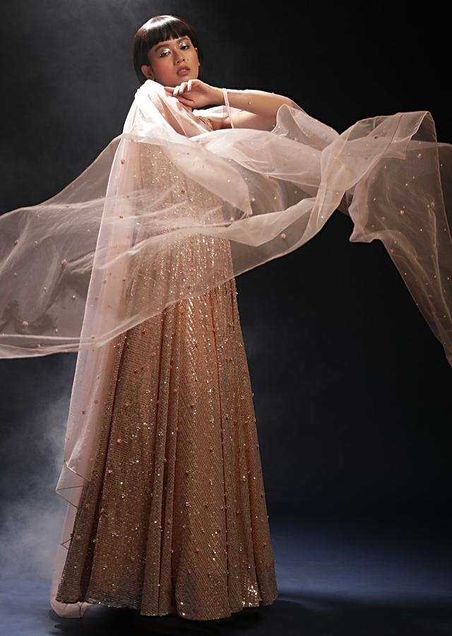 Peach Gown In Net With Flower Shaped Sequins And Cut Dana Work Along With Sheer Cut Out Detailing And Attached Cape Online - Kalki Fashion