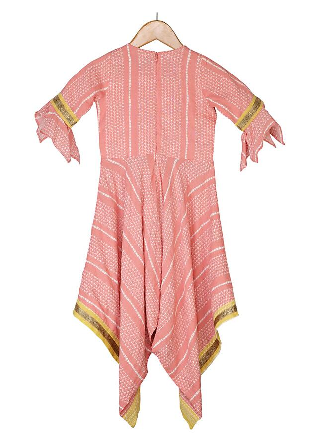 Peach Jumpsuit With Print All Over And Handkerchief Cut Hemline Online - Free Sparrow