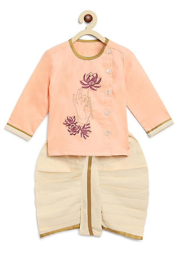 Peach Kurta And Dhoti Set With Resham And Zari Embroidered Hand Holding A Lotus Motif By Tiber Taber