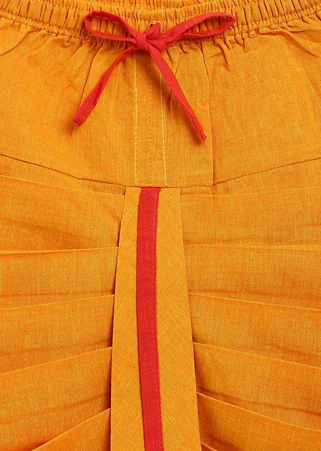 Peach Kurta And Yellow Dhoti Set In Cotton With Moti, Resham And Zardosi Embroidered Camel Motif By Tiber Taber