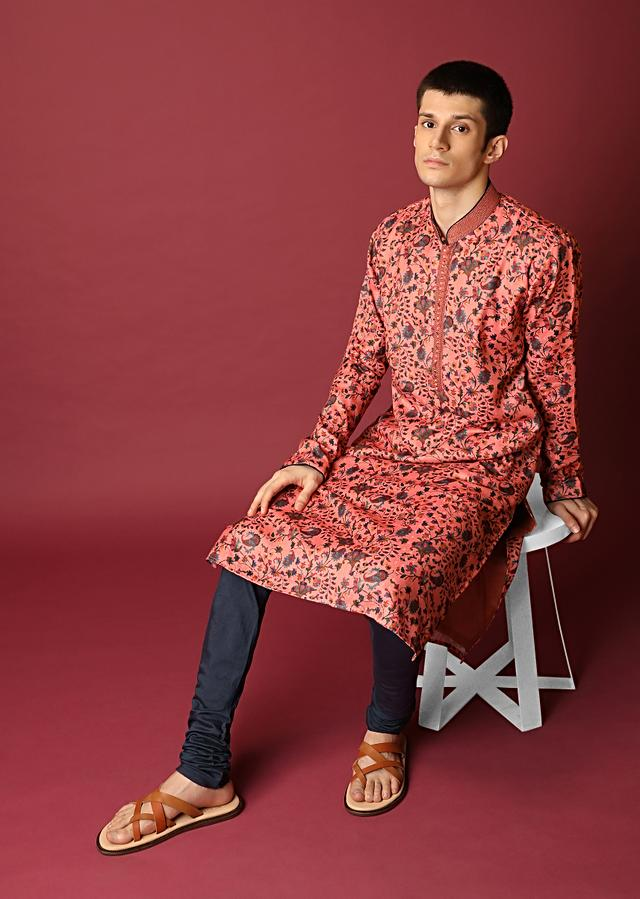 Peach Kurta Set With Floral Printed Jaal All Over Online - Kalki Fashion