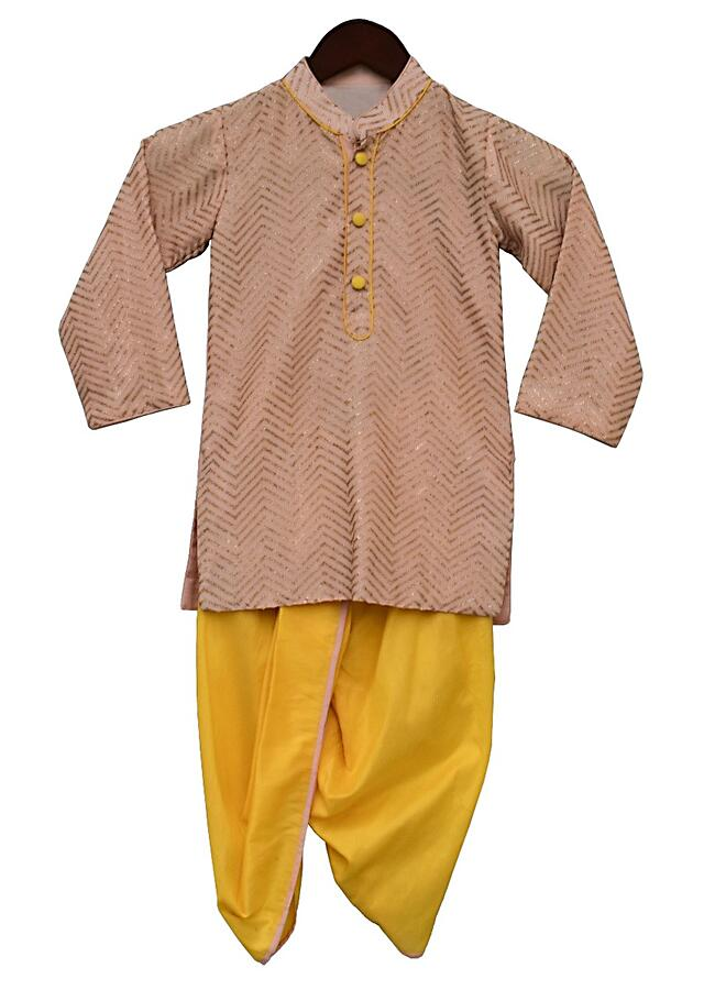Peach Kurta With Sequins Work In Zig Zag Pattern And Yellow Dhoti By Fayon Kids