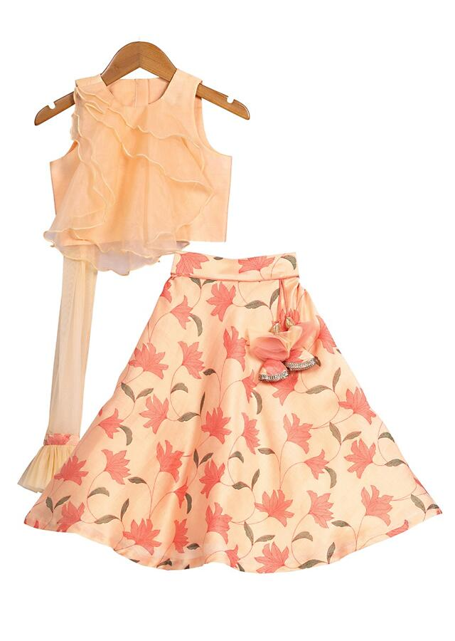 Peach Lehenga Set With Floral Print And Dramatic Organza Layered Crop Top With Attached Dupatta  Online - Free Sparrow