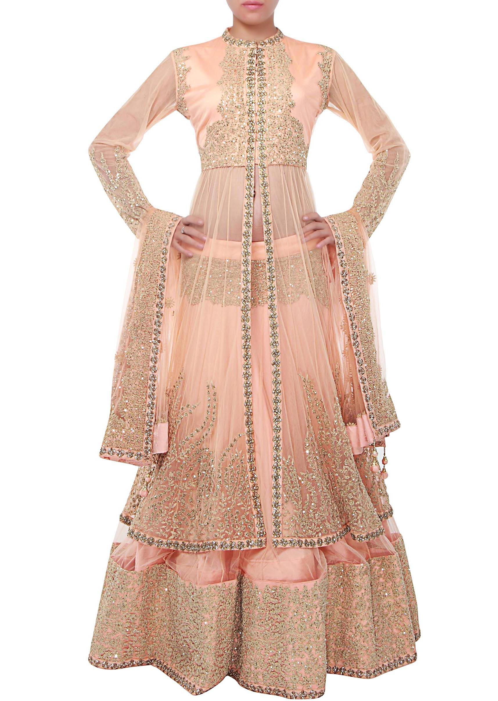9fc392facf9e3f Peach long jacket lehenga adorn in sequin and thread embroidery only on  KalkiMore Detail