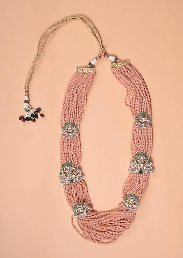 Peach Multi Strand Beads Necklace With Green Crystals, Stones And Kundan Work Floral Motifs Online - Kalki Fashion