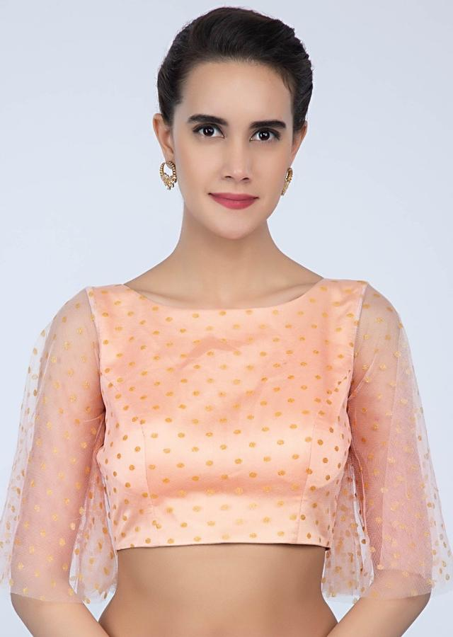 Peach Blouse In Net With Buttis And Flared Sleeves Online - Kalki Fashion