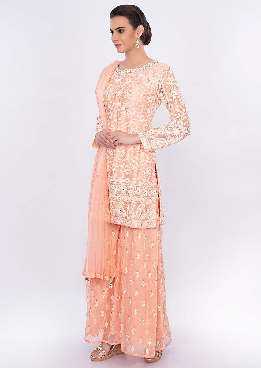 ce904048fdc Peach net embroidered palazzo suit set only on Kalki