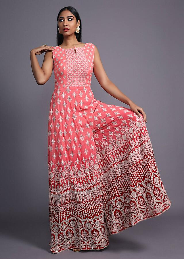 Peach Ombre Jumpsuit With Thread Embroidered Bubttis And Ethnic Motifs Online - Kalki Fashion