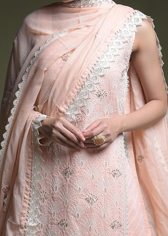 Peach Palazzo Suit In Cotton With Thread Cut Work Embroidered Scallop Jaal And Mirror Abla Work Online - Kalki Fashion