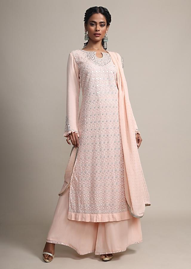 Peach Palazzo Suit Set With Self Thread And Mirror Embroidery Online - Kalki Fashion