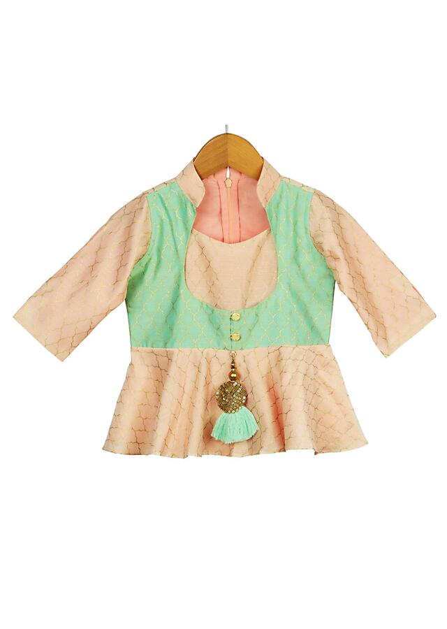 Peach Peplum Top With Mint Attached Jacket And Dhoti Adorned With Foil Printed Moroccan Mesh Online - Free Sparrow