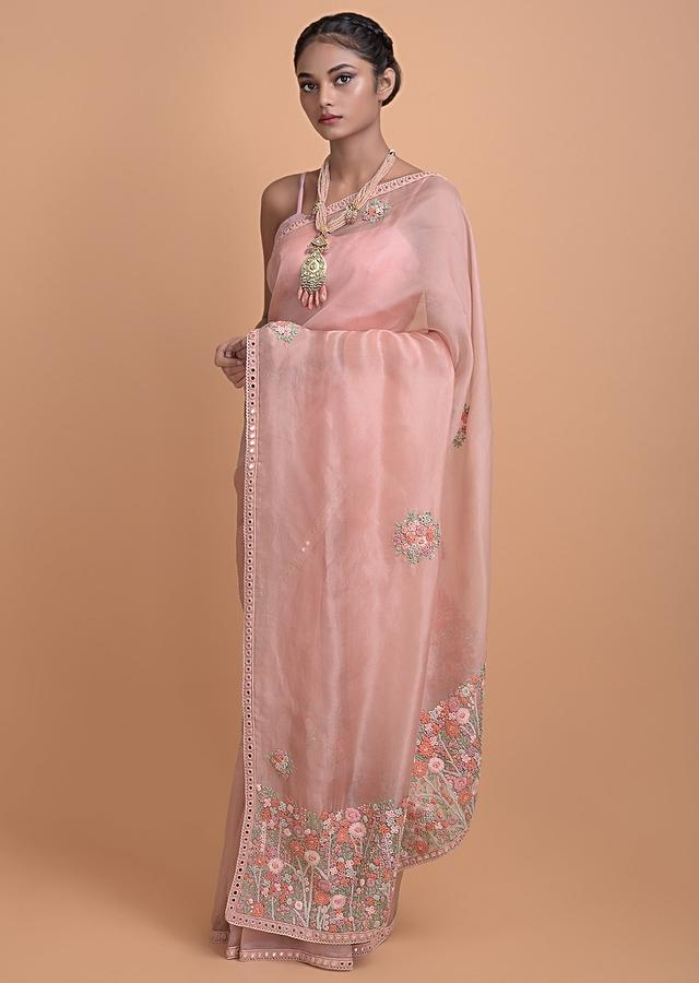 Peach Pink Saree In Organza With Hand Embroidered Thread And Sequins Buttis Online - Kalki Fashion