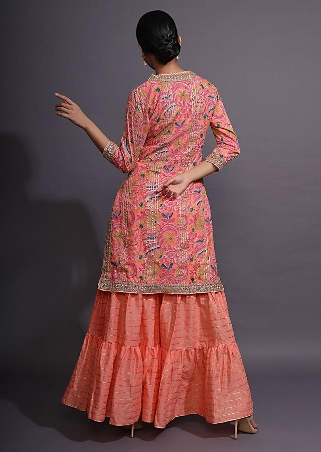 Peach Pink Sharara Suit With Floral Print And Gotta Patti Work On The Border Online - Kalki Fashion