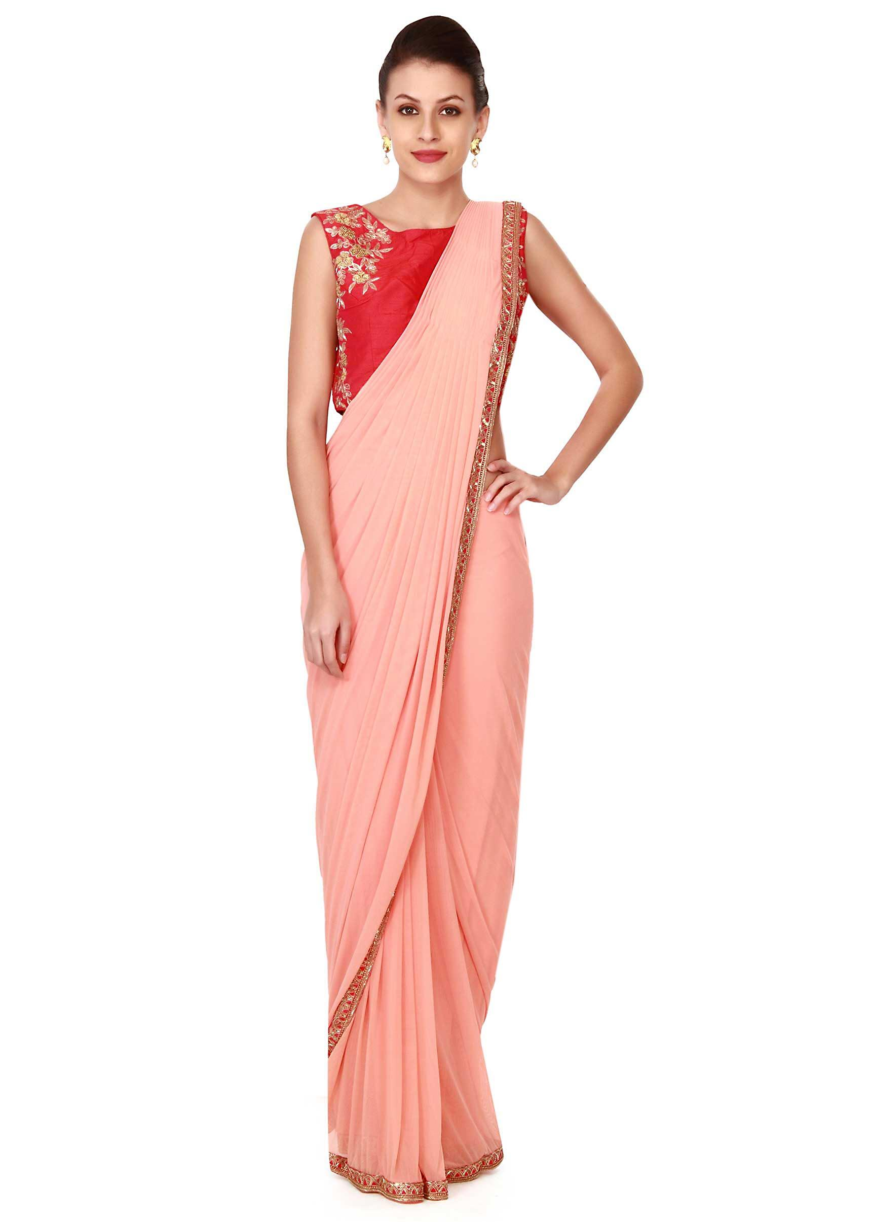85f50918aeac51 Peach pre stitched saree with embroidered blouse only on KalkiMore Detail