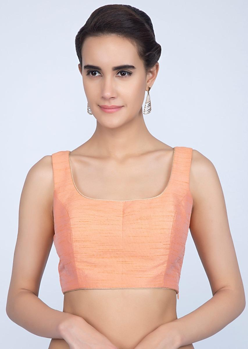 Peach Blouse In Raw Silk With Golden Piping Online - Kalki Fashion