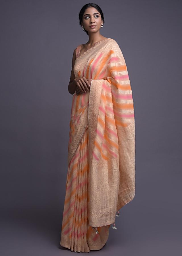 Peach Saree In Georgette With Lehariya Print And Weaved Pattern Online - Kalki Fashion