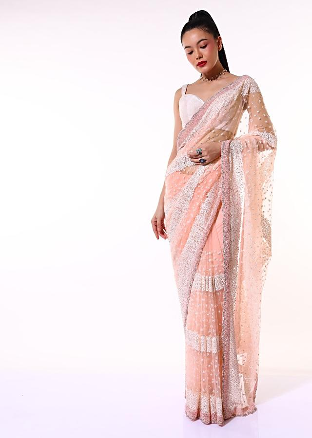 Peach Saree In Net With Resham And Moti Embroidered Striped And Butti Design Along With Unstitched Blouse Online - Kalki Fashion