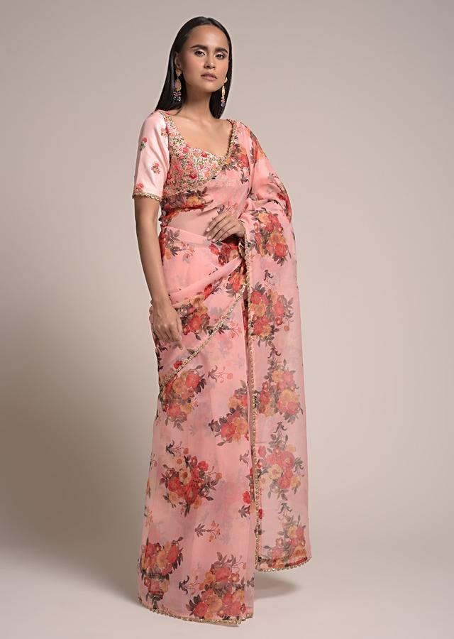 Peach Saree In Organza With Floral Print And Matching Bud Embroidered Blouse Online - Kalki Fashion