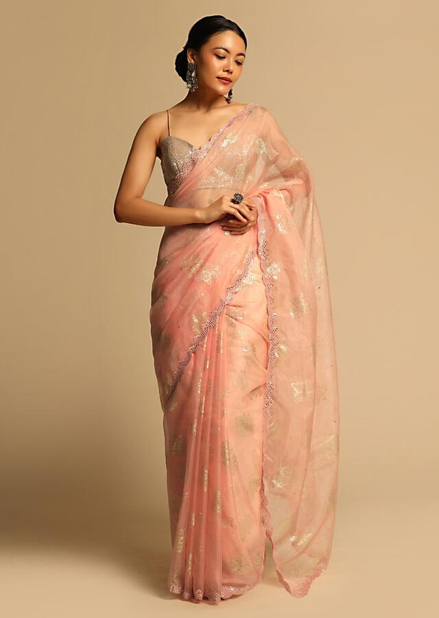 Peach Saree In Organza With Foil Printed Floral Buttis And Scalloped Mirror Border Along With Unstitched Blouse Online - Kalki Fashion