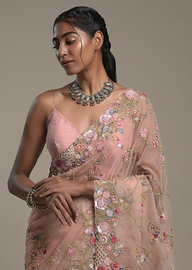 Peach Saree In Organza With Hand Embroidered Colorful Resham Work And Unstitched Blouse Online - Kalki Fashion