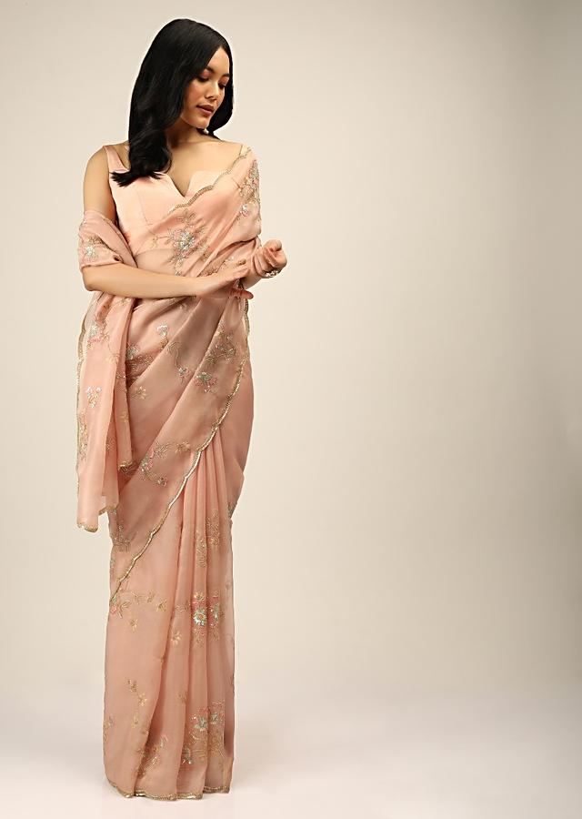 Peach Saree In Organza With Multi Colored Sequins And Resham Embroidered Flowers And Cut Dana Accents Online - Kalki Fashion