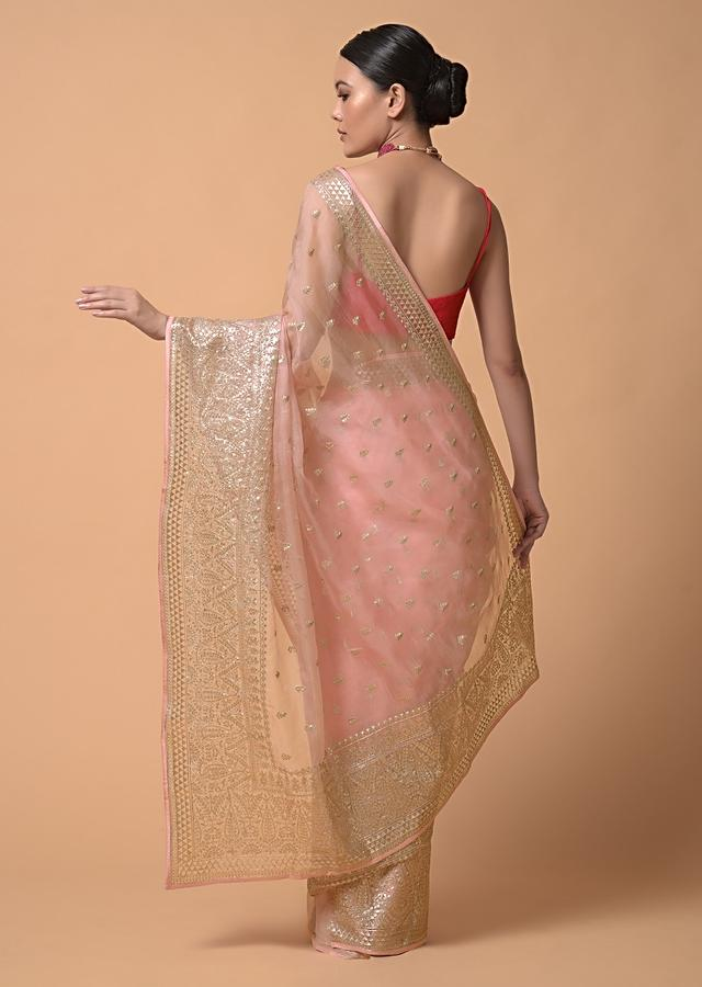 Peach Saree In Organza With Zari Cord Embroidery In Floral And Paisley Motifs Online - Kalki Fashion
