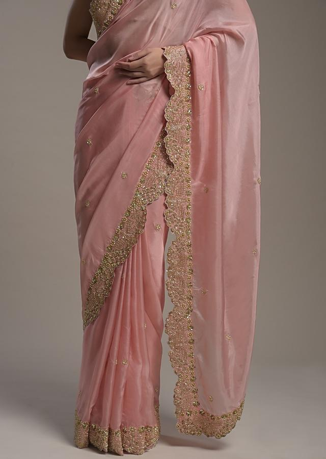 Peach Saree In Satin Organza With Sequins Embellished Border And Unstitched Blouse  Online - Kalki Fashion