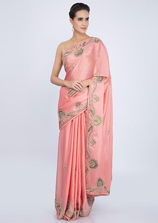 Peach Satin Saree With Embroidered Butti And Border Online - Kalki Fashion
