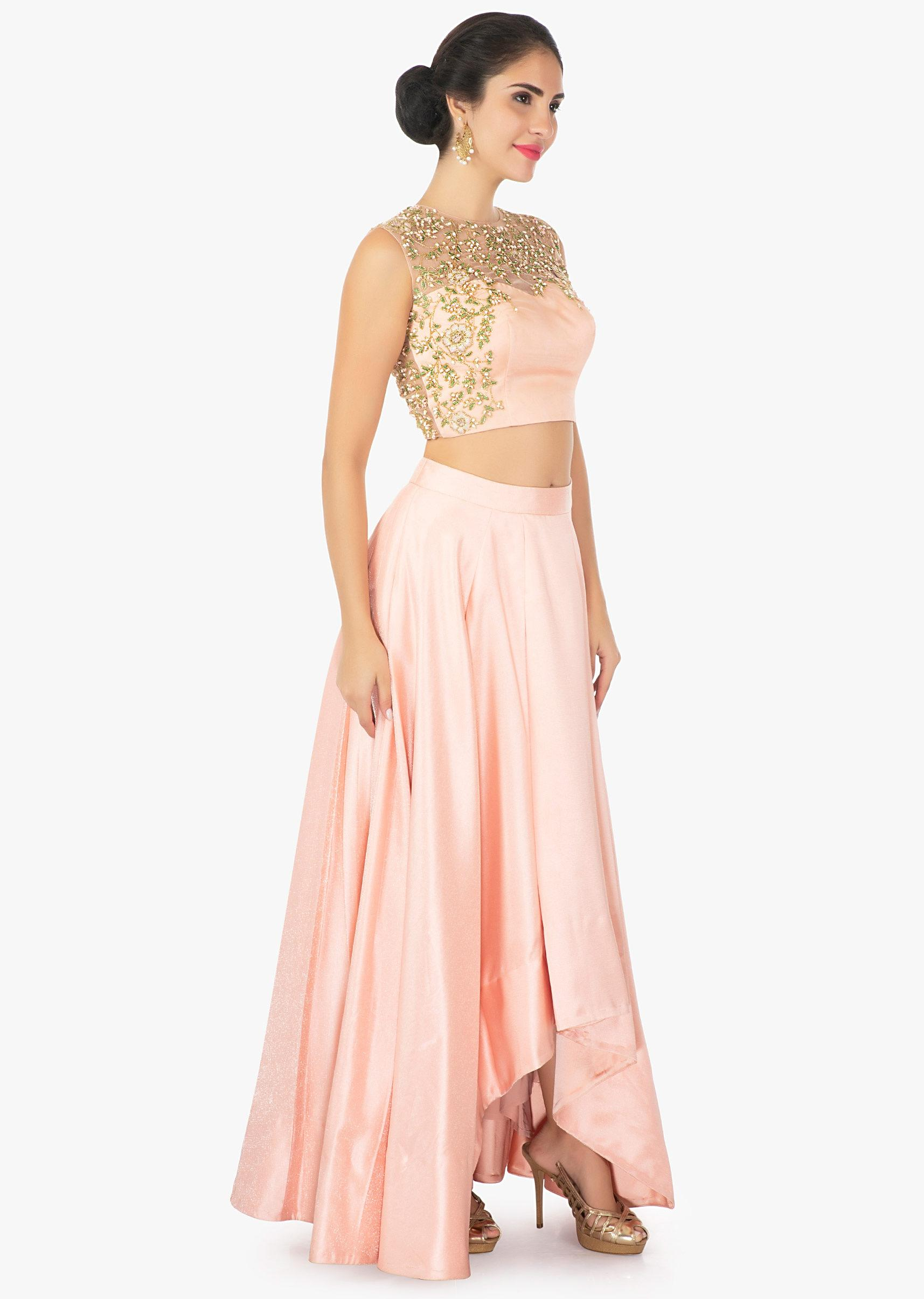 3155af48cf22bc Peach satin skirt with a illusion neck satin and net blouse only on KalkiMore  Detail