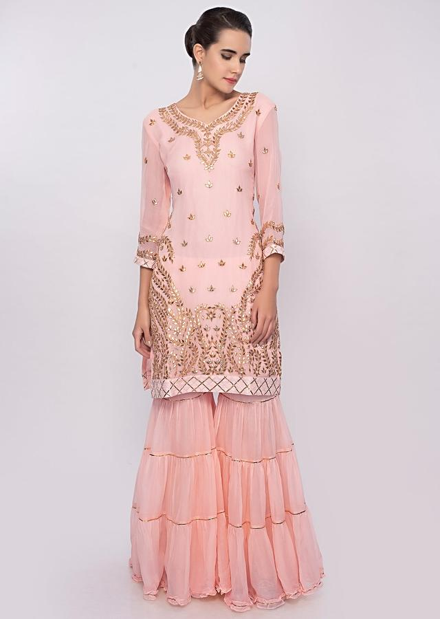 Peach Sharara Suit Set With Gotta Patch Embroidery Online - Kalki Fashion