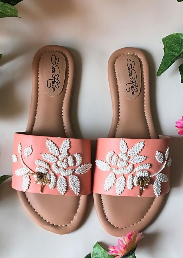 Peach Slider Flats With Pearl Embellished Rose Motifs Online By Sole House