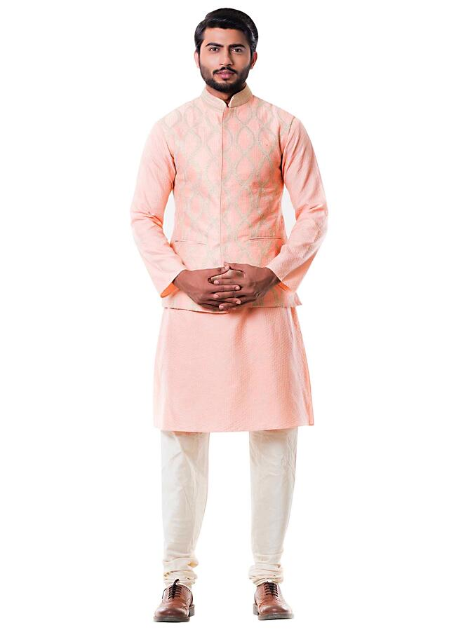 Peach Stitch Line Kurta With Peach Zari Waist Coat Online - Kalki Fashion
