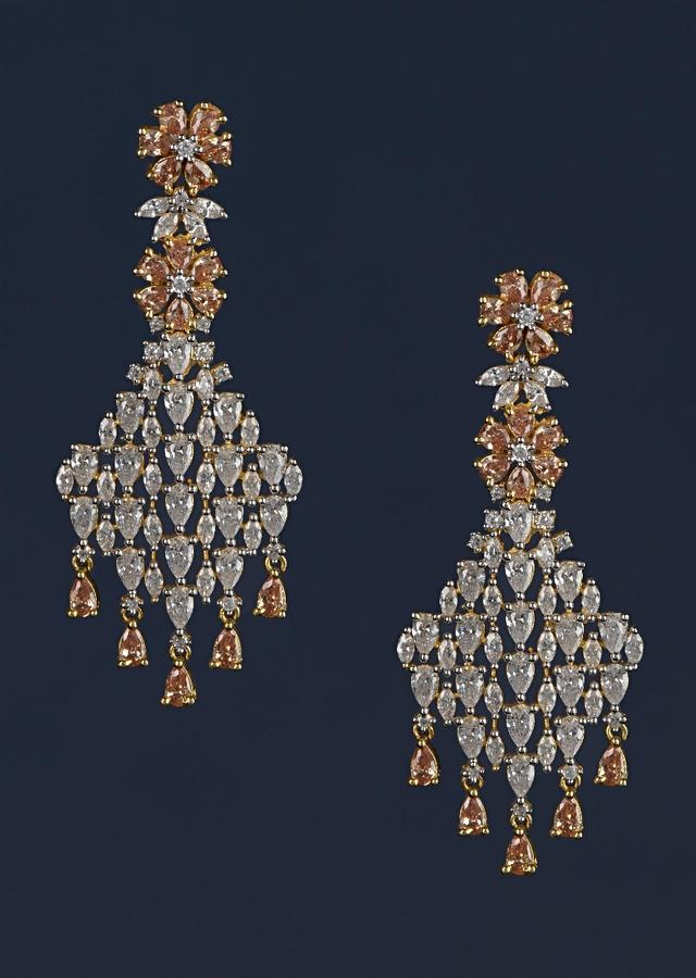 Peach Stones And Crystal Studded Earrings In Floral Motifs Online - Kalki Fashion