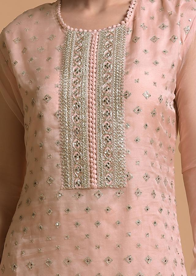 Peach Straight Cut Suit With Sequins Buttis All Over And Cord Embroidery On The Placket And Border Online - Kalki Fashion