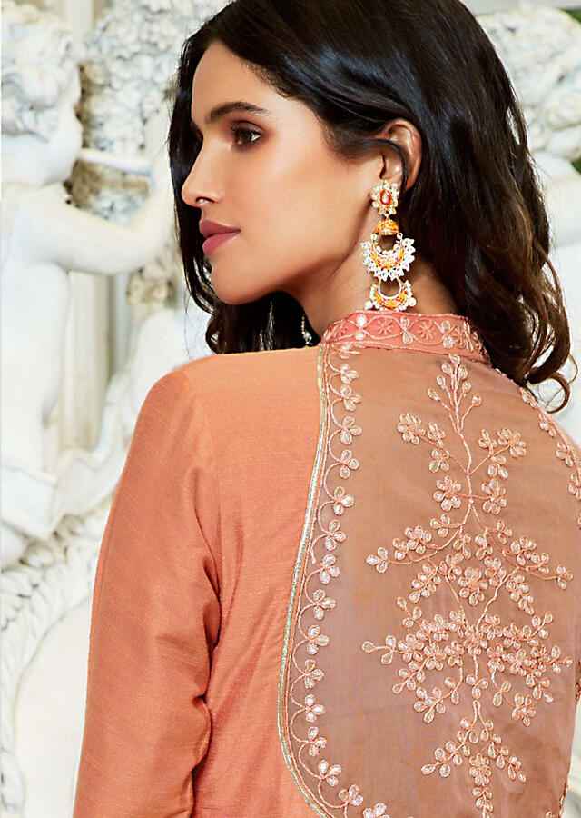 Peach Straight Palazzo Suit In Silk With Patch Work And Zardosi Online - Kalki Fashion