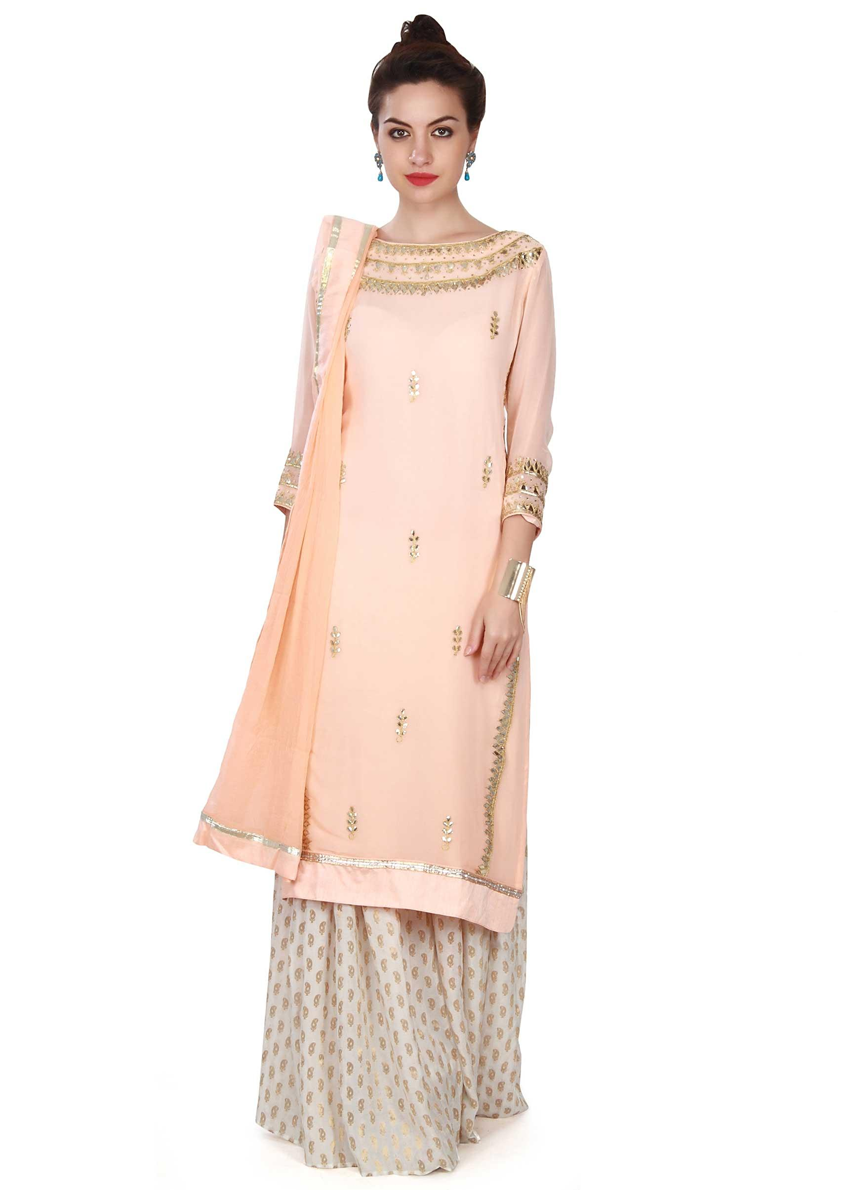 793e733baa3 Peach suit adorn in gotta patch work only on KalkiMore Detail
