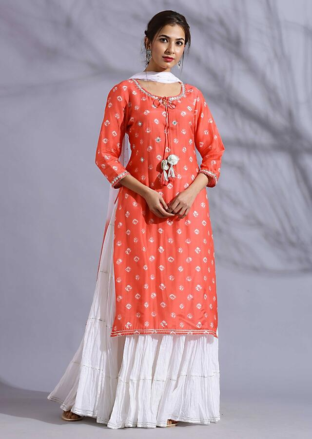 Peach Suit matched with skirt in butti print and gotta lace work Online - Kalki Fashion