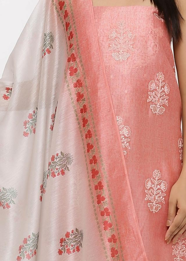 Peach Unstitched suit In Thread Work Matched With Cotton Mask Online - Kalki Fashion