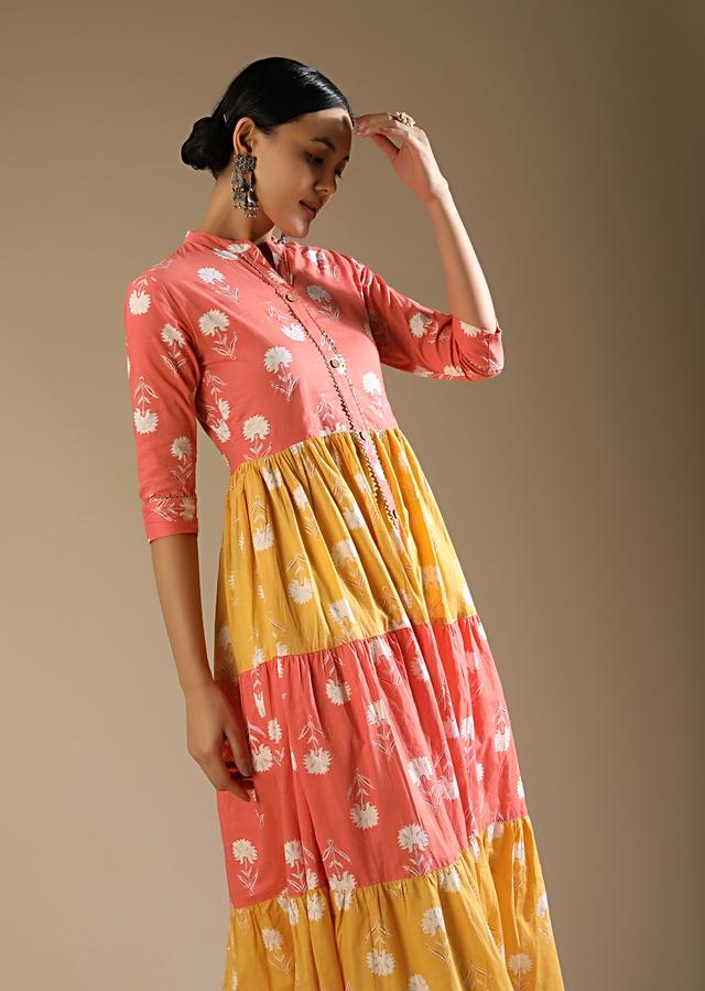 Peach And Yellow Tiered Kurti In Cotton With Floral Printed Buttis And Gotta Lace Work Online - Kalki Fashion