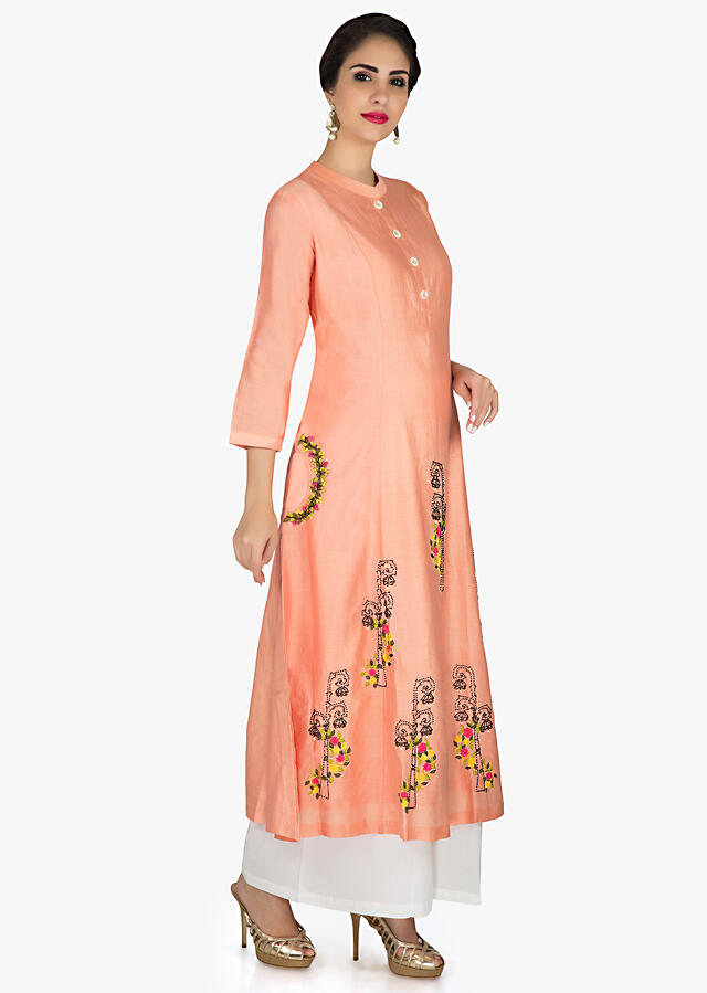 Peach A line suit in cotton matched with palazzo pant and dupatta in yellow cotton only on Kalki